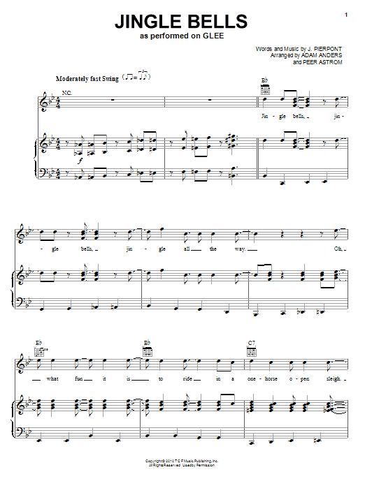 Glee Cast Jingle Bells sheet music notes and chords. Download Printable PDF.