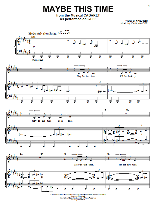 Glee Cast Maybe This Time sheet music notes and chords. Download Printable PDF.