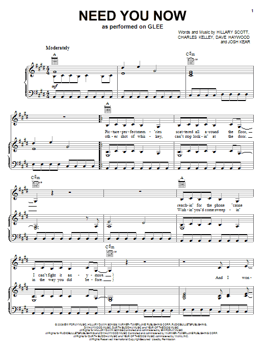 Glee Cast Need You Now sheet music notes and chords. Download Printable PDF.