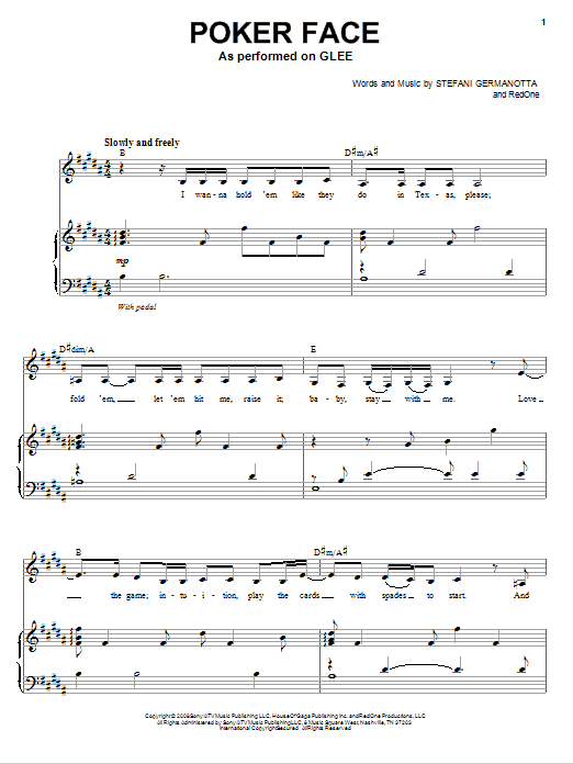 Glee Cast Poker Face sheet music notes and chords. Download Printable PDF.