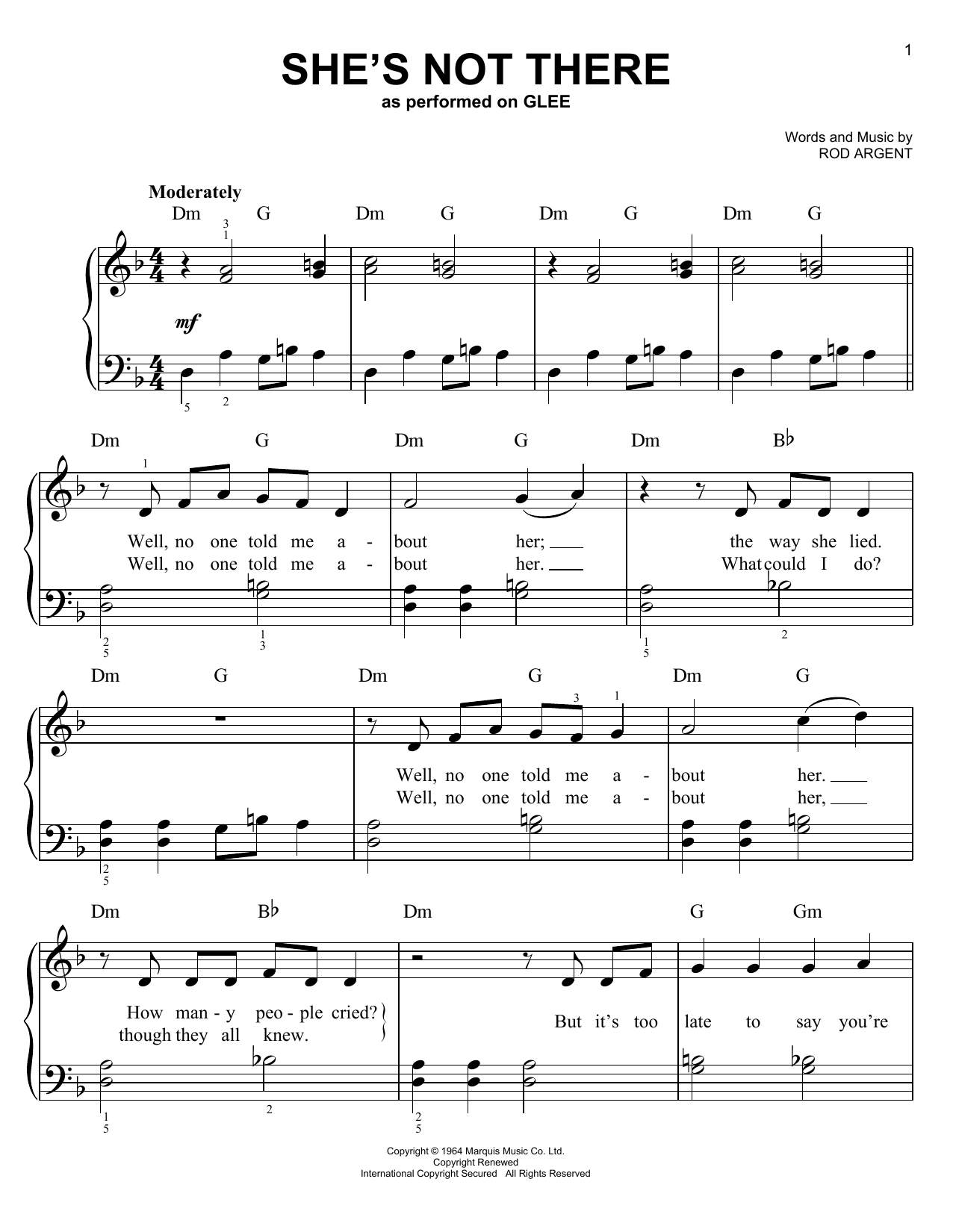 Glee Cast She's Not There sheet music notes and chords. Download Printable PDF.