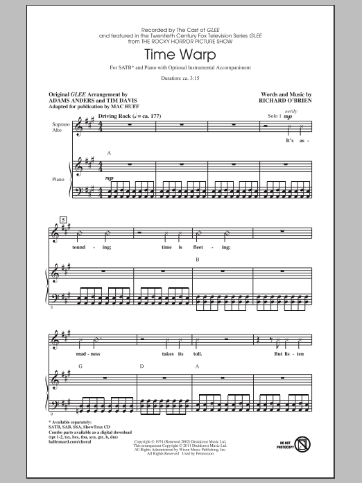Glee Cast Time Warp (arr. Mac Huff) sheet music notes and chords. Download Printable PDF.