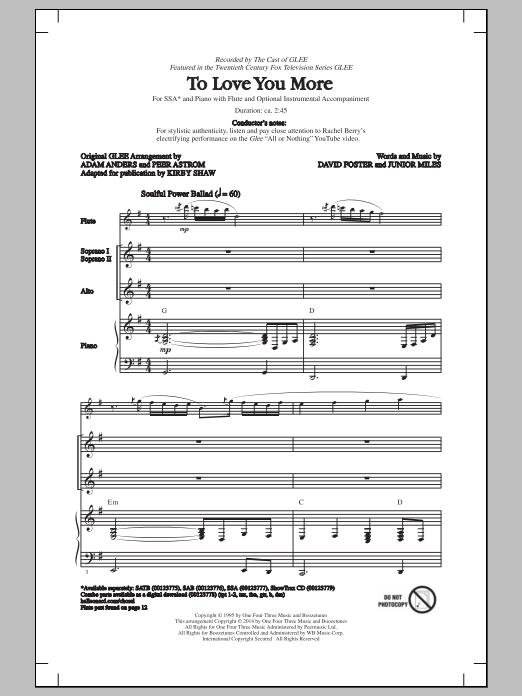 Glee Cast To Love You More (arr. Kirby Shaw) sheet music notes and chords. Download Printable PDF.