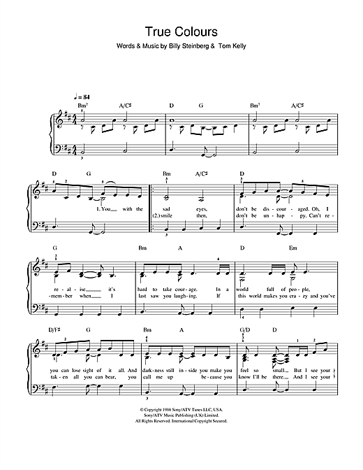 Glee Cast True Colours sheet music notes and chords. Download Printable PDF.