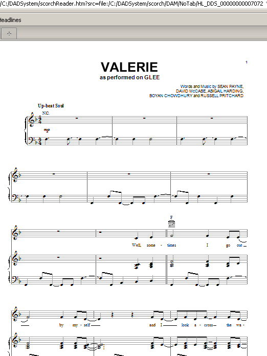 Glee Cast Valerie sheet music notes and chords