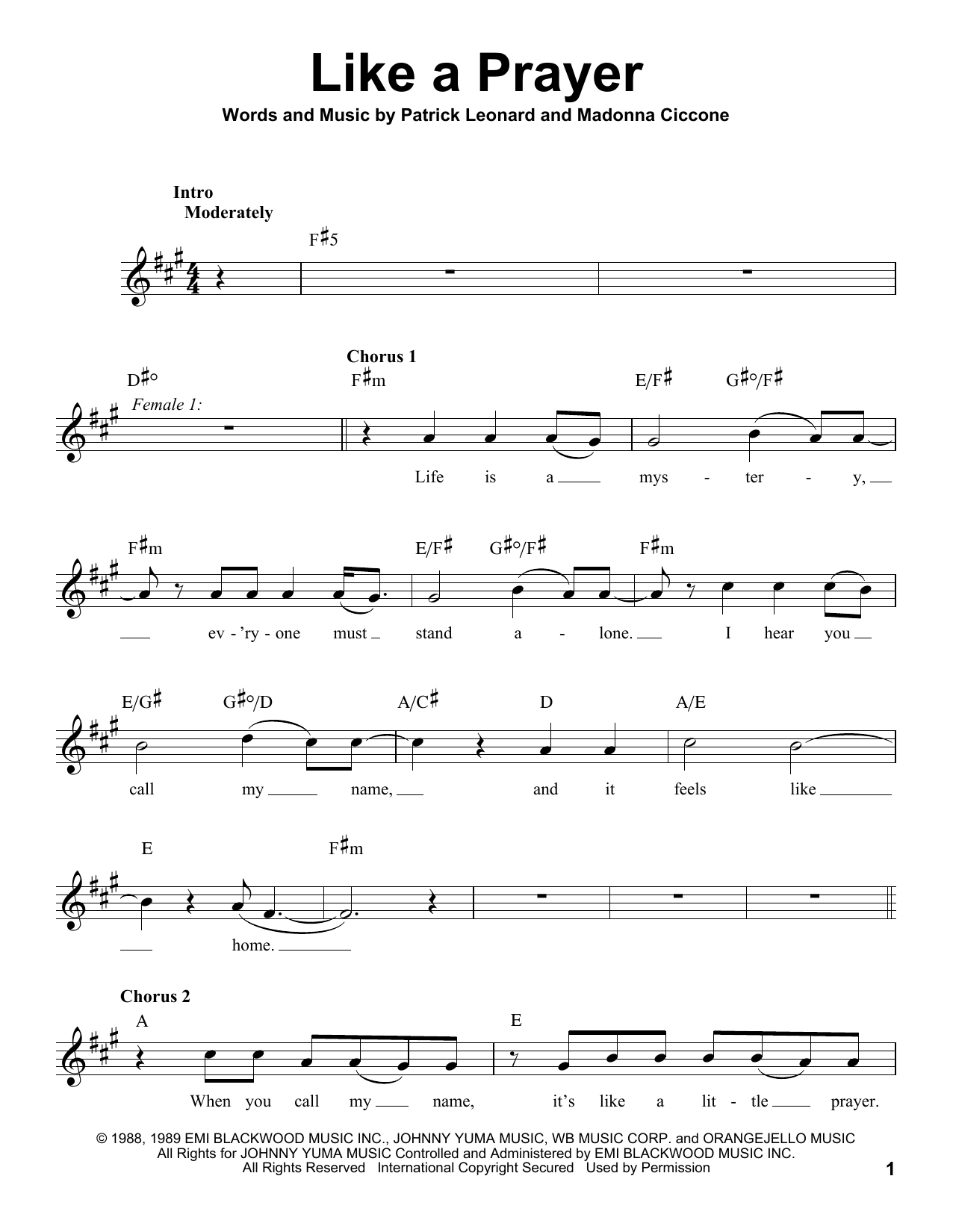Glee Cast Like A Prayer sheet music notes and chords. Download Printable PDF.