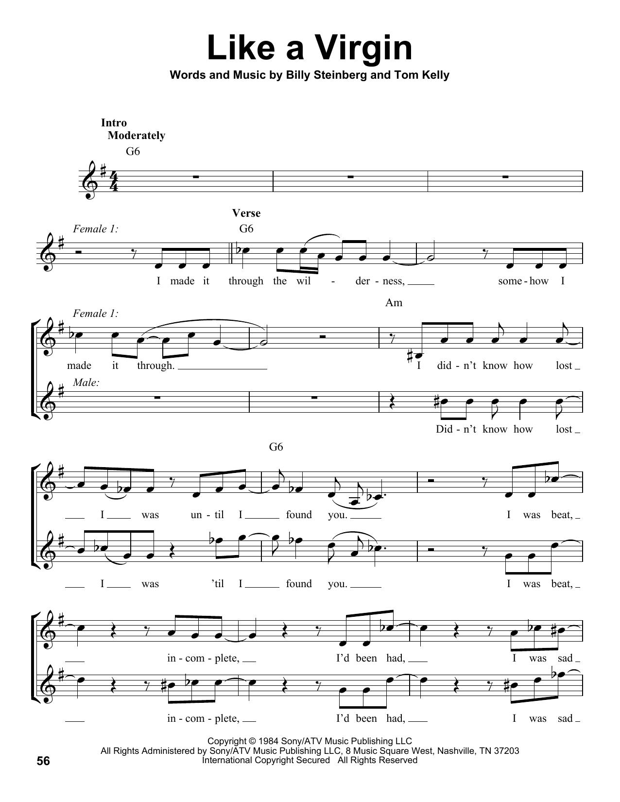 Glee Cast feat. Matthew Morrison, Jayma Mayes, Naya Rivera, Like A Virgin sheet music notes and chords. Download Printable PDF.