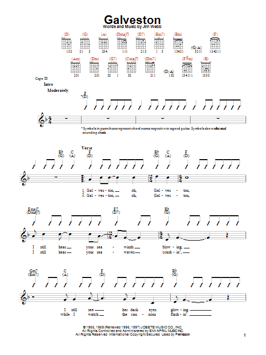 Glen Campbell Galveston sheet music notes and chords