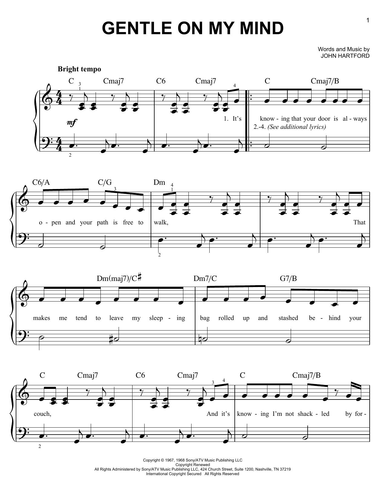 Glen Campbell Gentle On My Mind sheet music notes and chords. Download Printable PDF.
