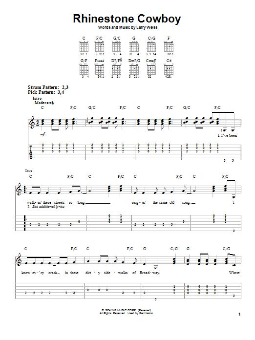 Glen Campbell Rhinestone Cowboy sheet music notes and chords. Download Printable PDF.