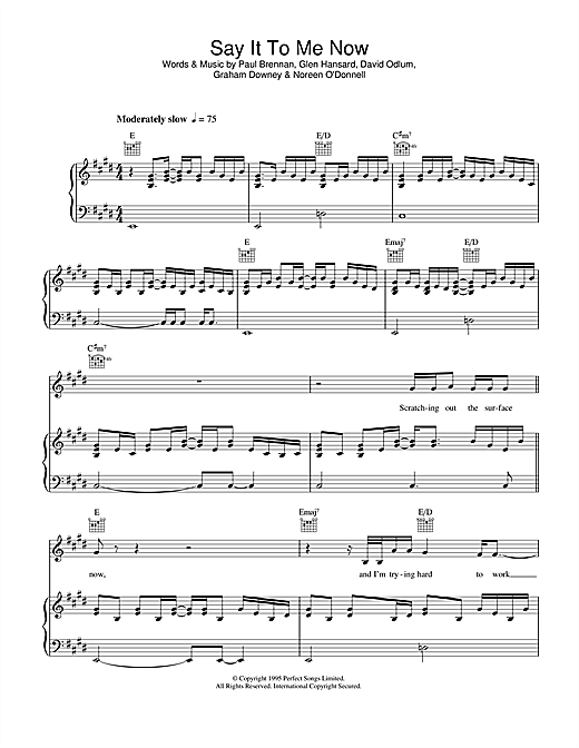 Glen Hansard Say It To Me Now (from Once) sheet music notes and chords