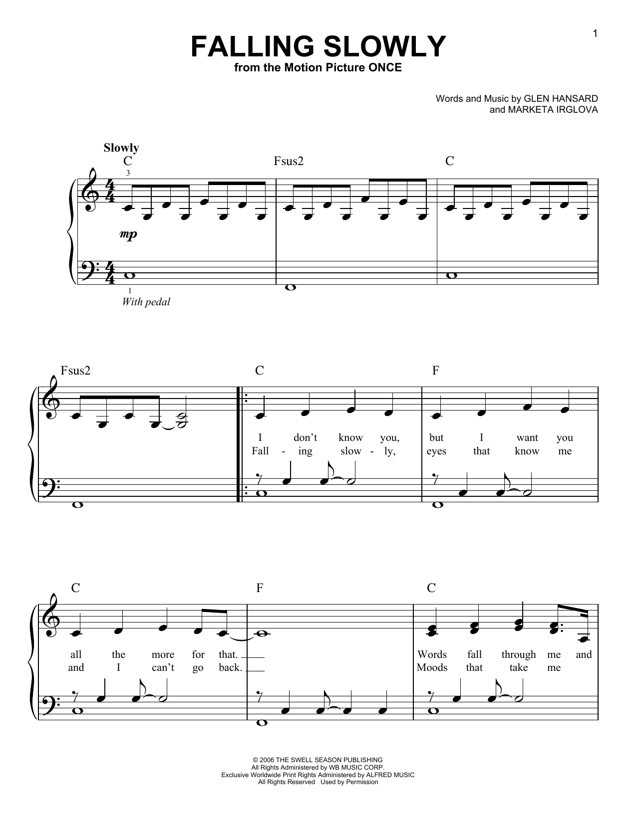 The Swell Season Falling Slowly sheet music notes and chords. Download Printable PDF.