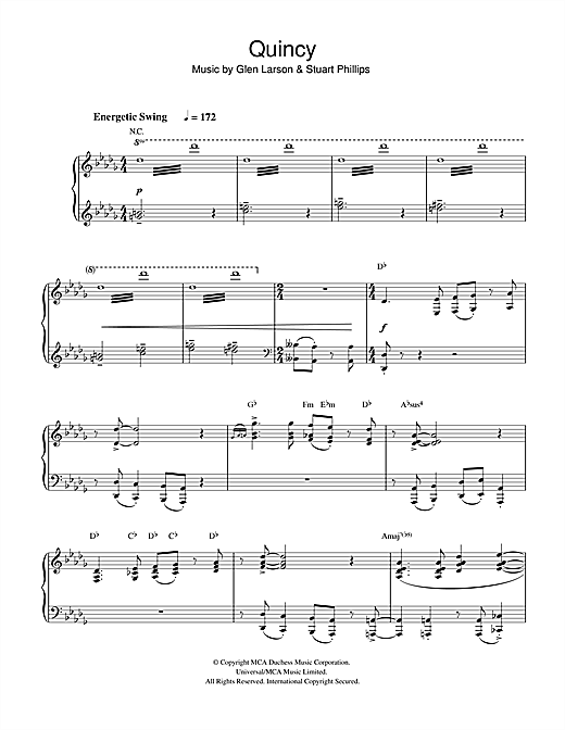 Glen Larson Quincy sheet music notes and chords. Download Printable PDF.