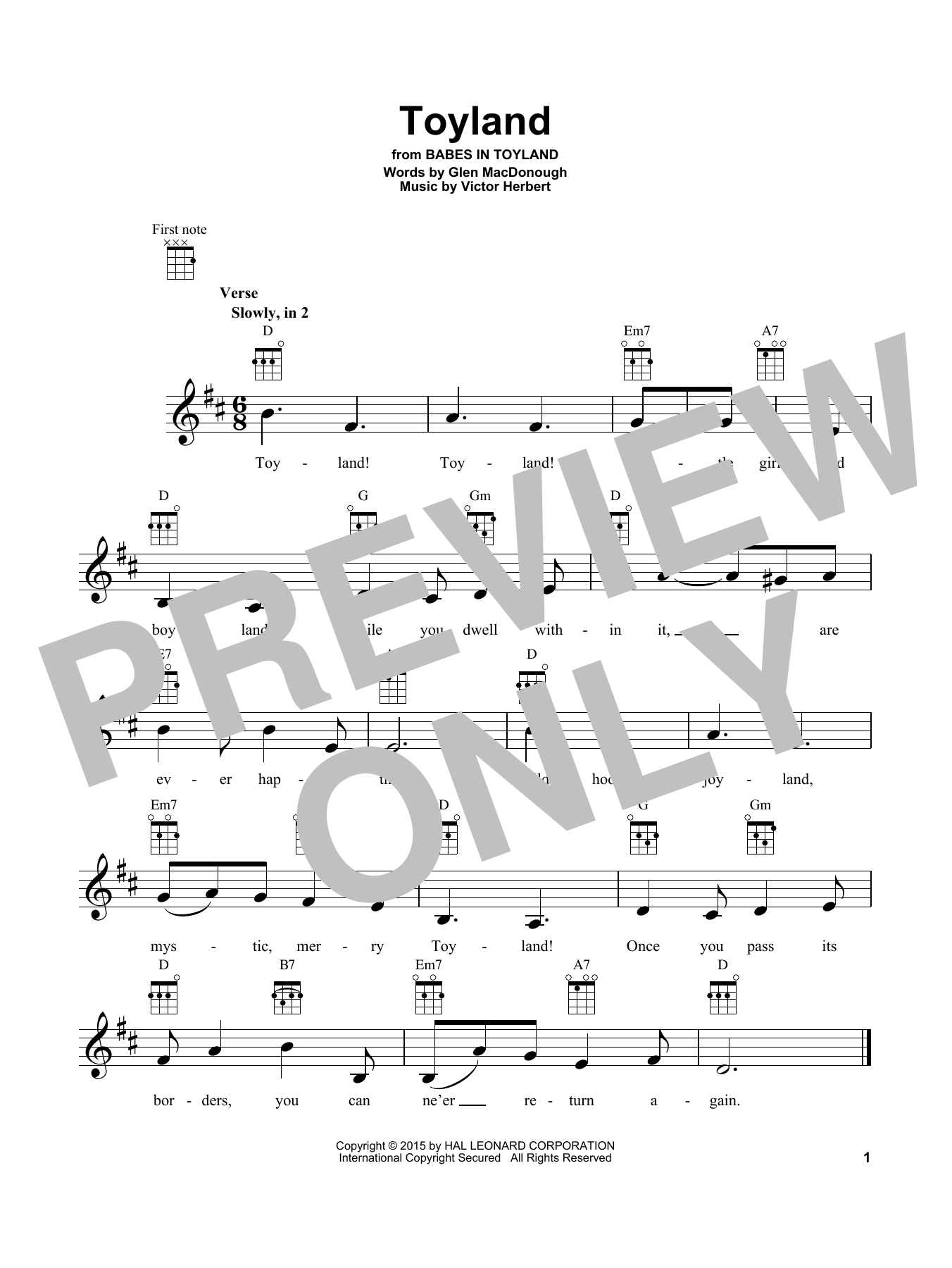 Victor Herbert Toyland sheet music notes and chords. Download Printable PDF.