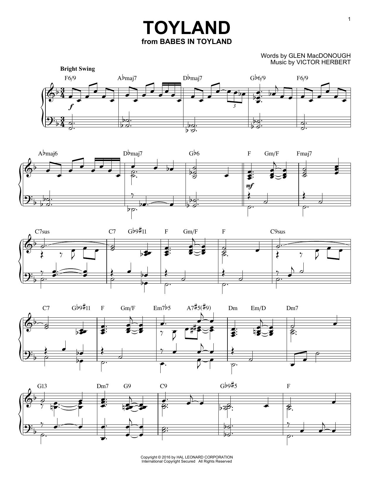 Glen MacDonough Toyland [Jazz version] (arr. Brent Edstrom) sheet music notes and chords. Download Printable PDF.