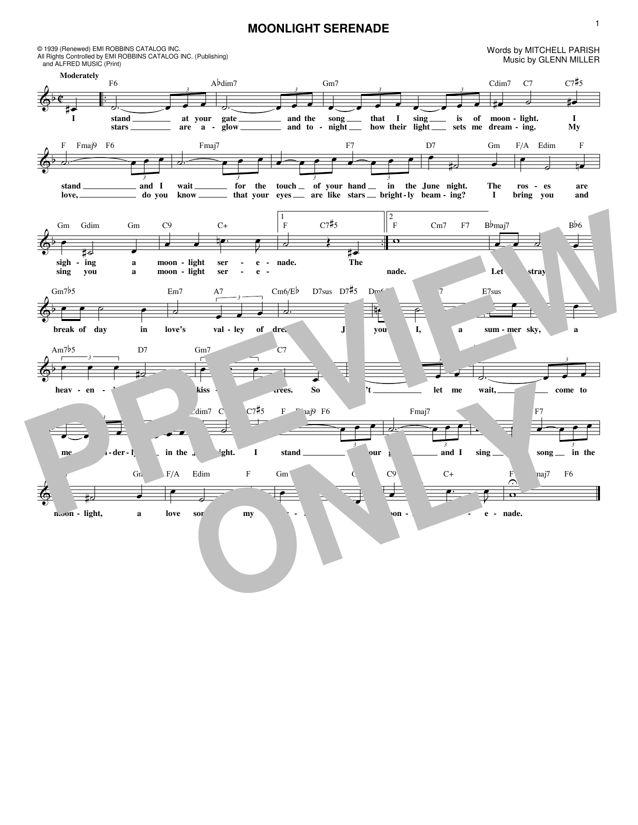 Glen Miller Moonlight Serenade sheet music notes and chords. Download Printable PDF.