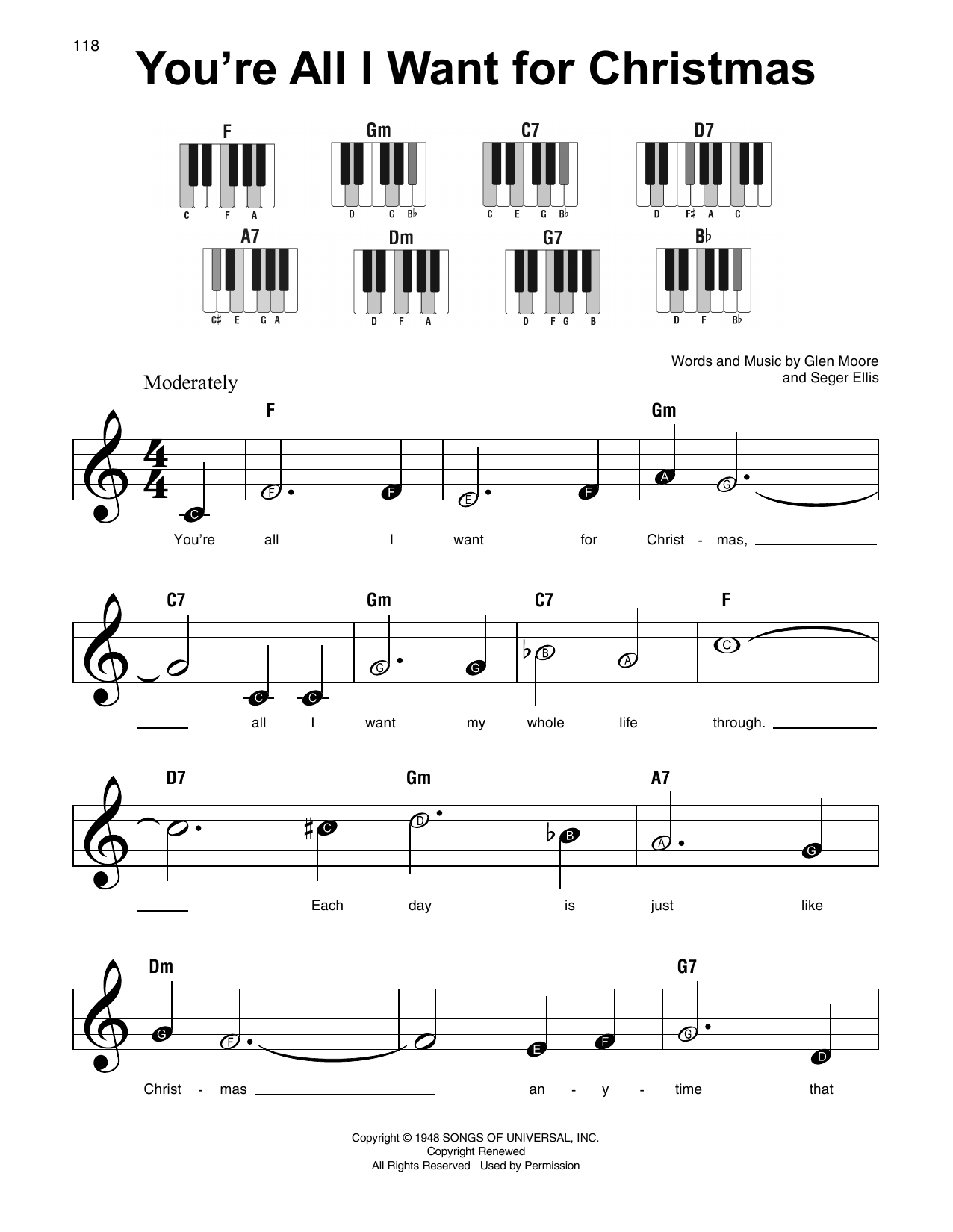 All I Want For Christmas Is You Lyrics To Print.Glen Moore You Re All I Want For Christmas Sheet Music Notes Chords Download Printable Lead Sheet Fake Book Sku 191524
