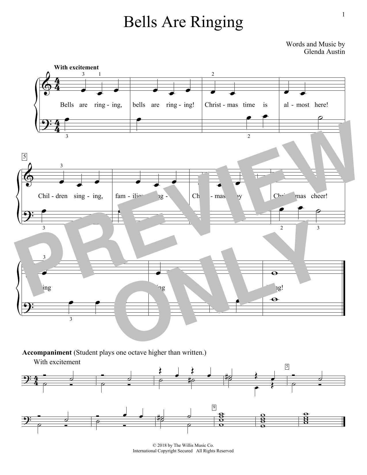 Glenda Austin Bells Are Ringing sheet music notes and chords. Download Printable PDF.