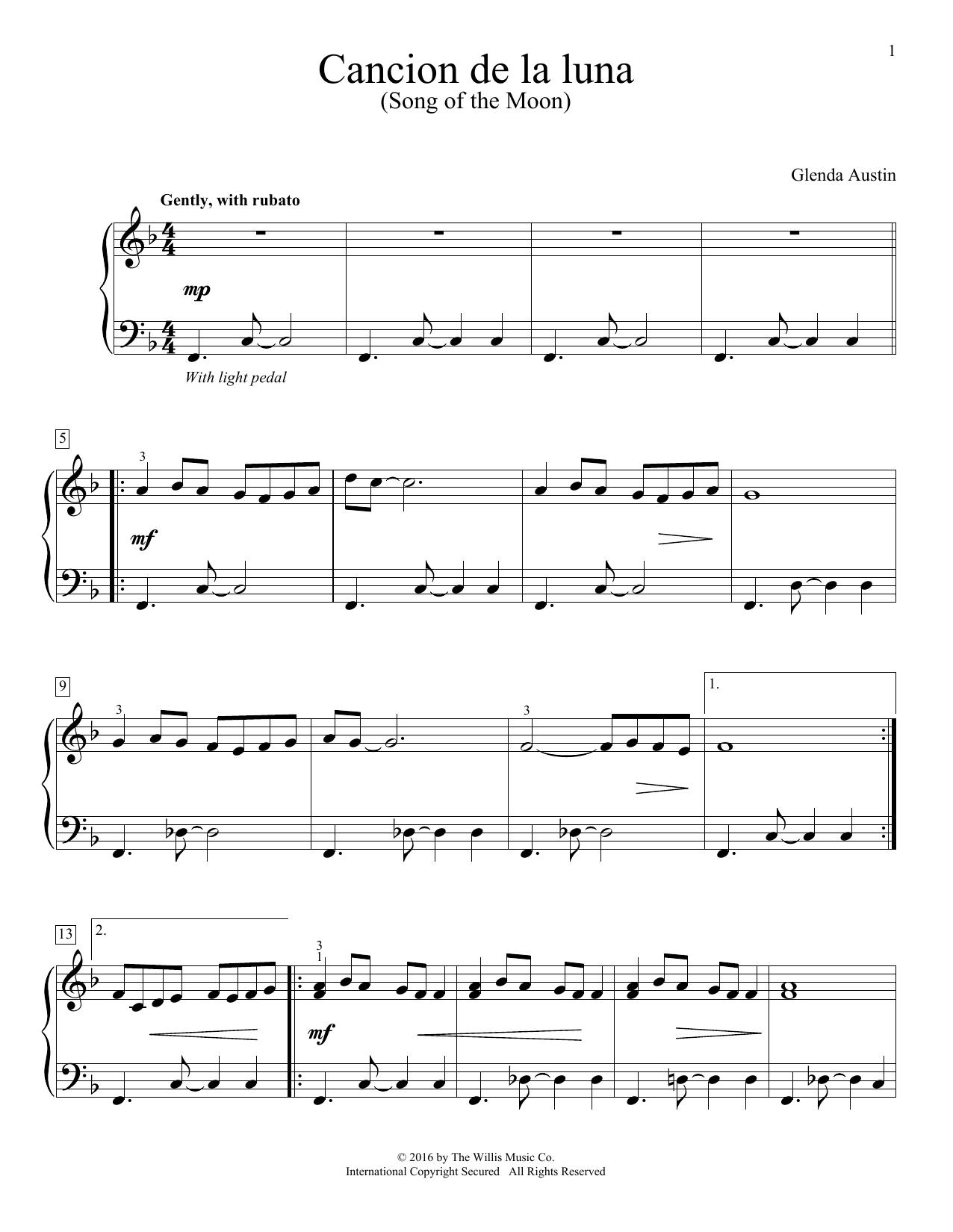 Glenda Austin Cancion De La Luna sheet music notes and chords