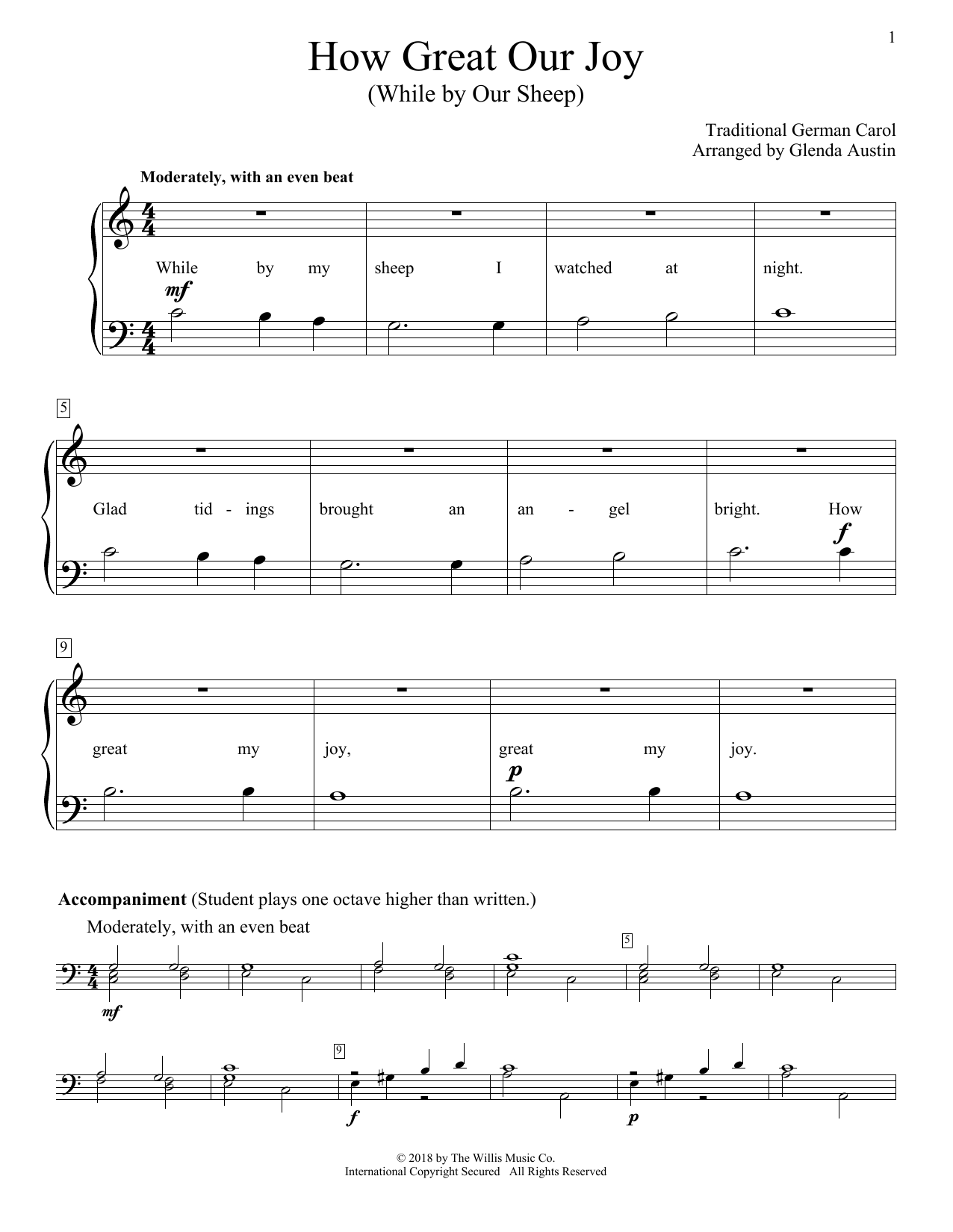 Glenda Austin How Great Our Joy (While By Our Sheep) sheet music notes and chords. Download Printable PDF.