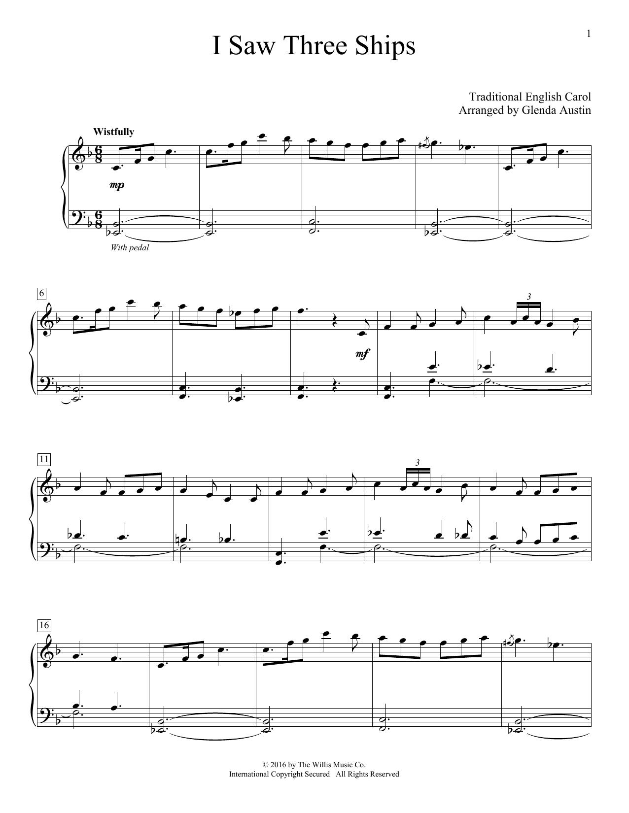 Glenda Austin I Saw Three Ships sheet music notes and chords. Download Printable PDF.