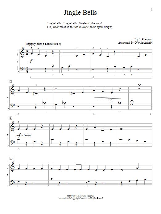 Glenda Austin Jingle Bells sheet music notes and chords. Download Printable PDF.