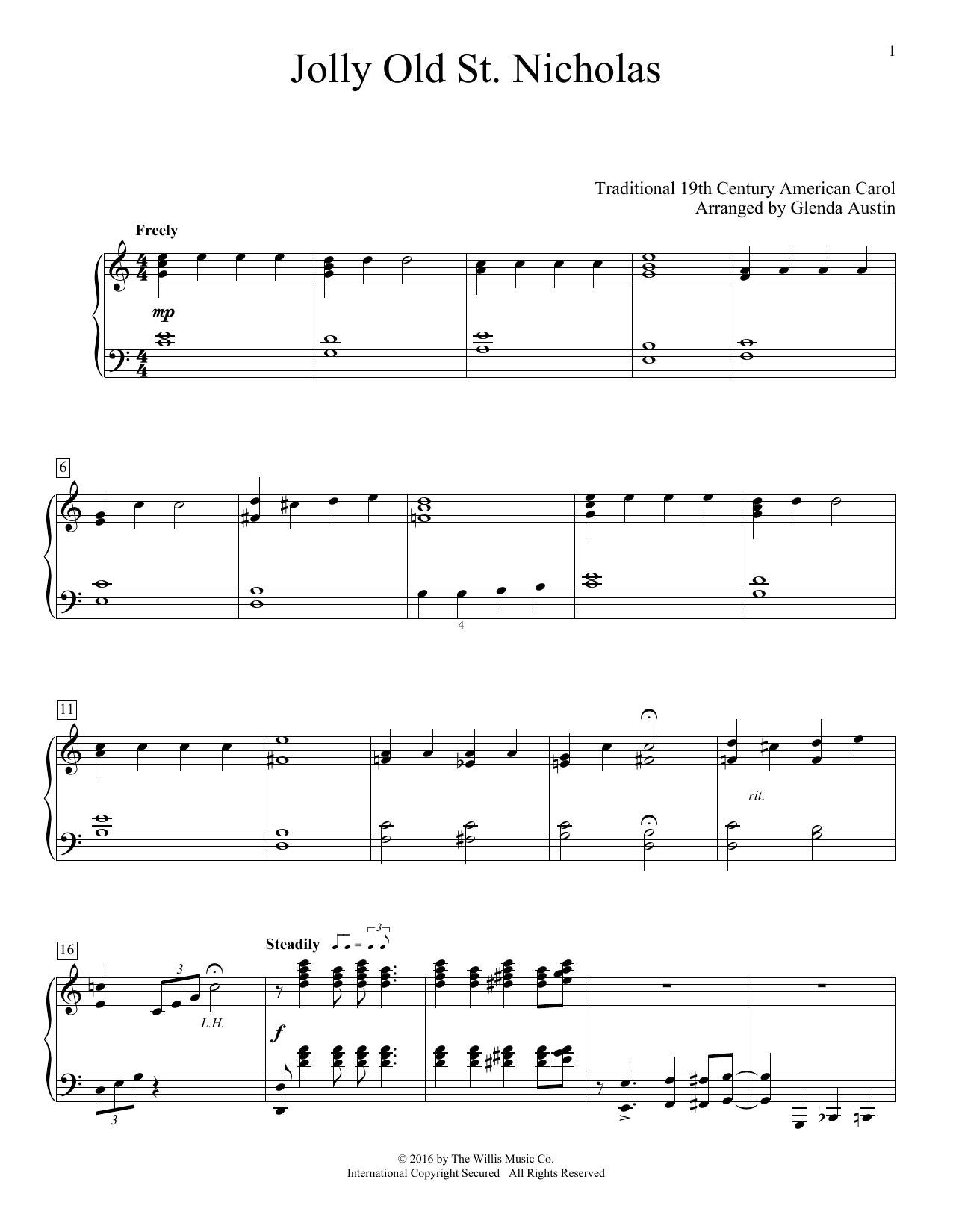 Glenda Austin Jolly Old St. Nicholas sheet music notes and chords. Download Printable PDF.