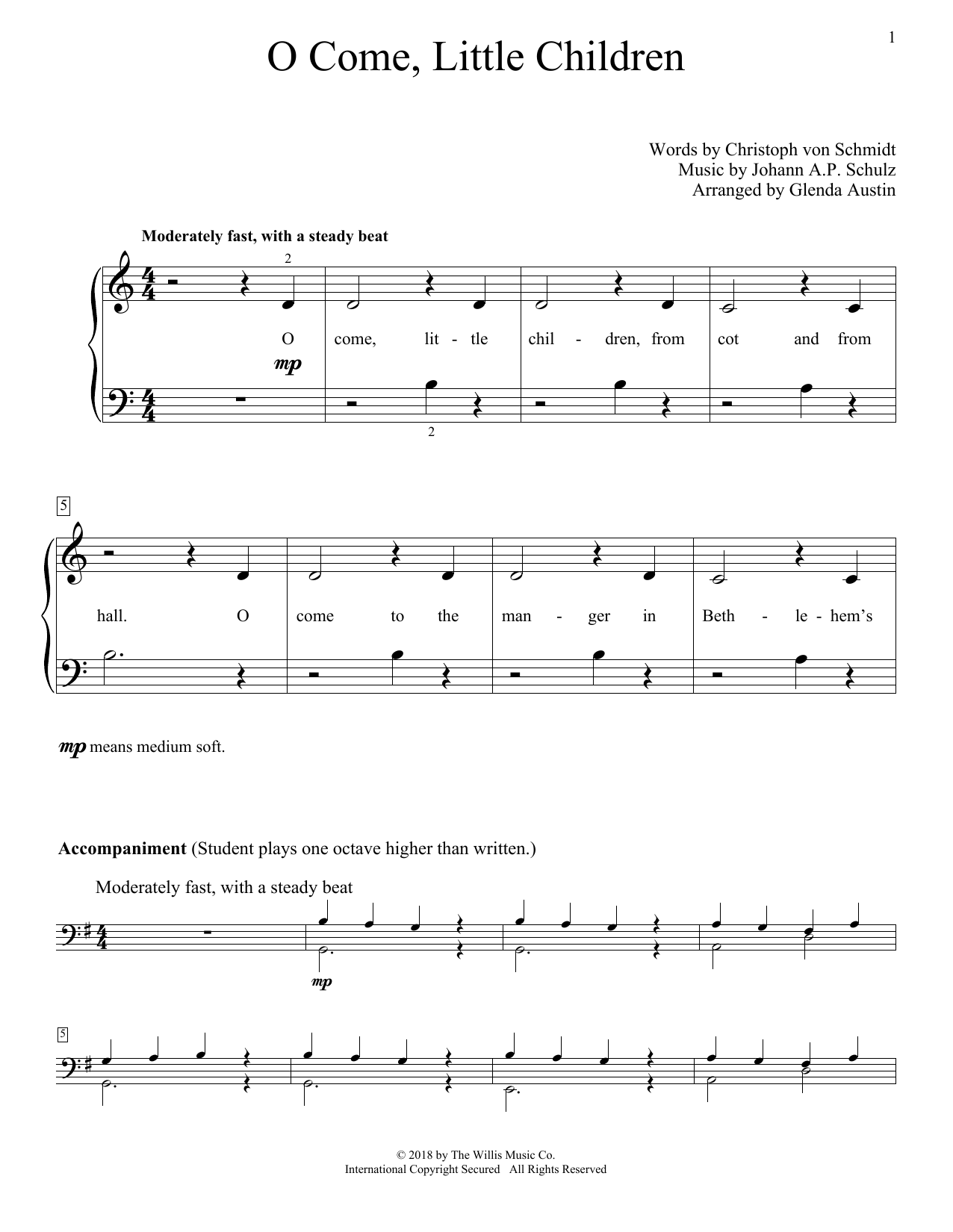 Glenda Austin O Come, Little Children sheet music notes and chords. Download Printable PDF.