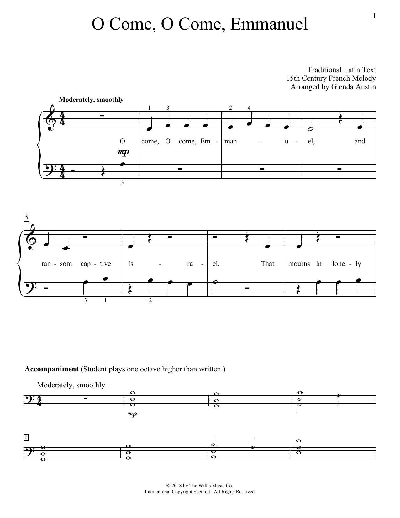 Glenda Austin O Come, O Come, Emmanuel sheet music notes and chords. Download Printable PDF.