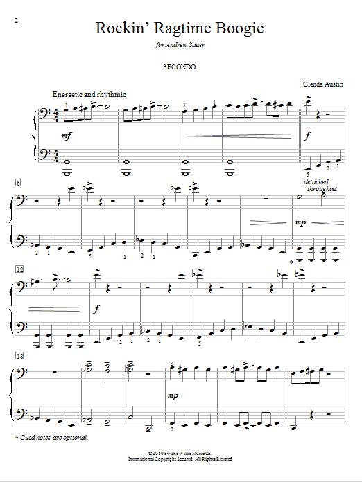 Glenda Austin Rockin' Ragtime Boogie sheet music notes and chords. Download Printable PDF.