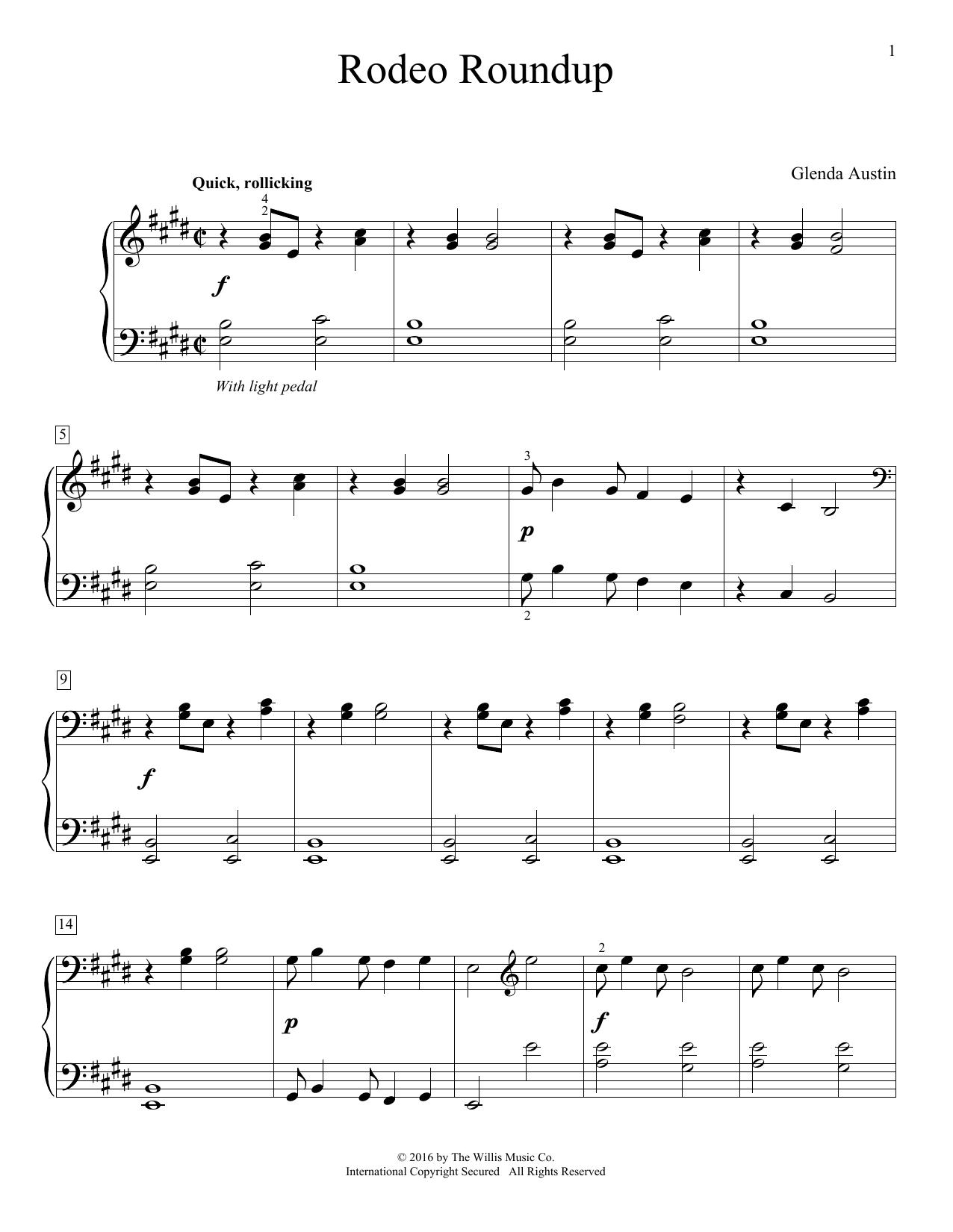 Glenda Austin Rodeo Roundup sheet music notes and chords. Download Printable PDF.