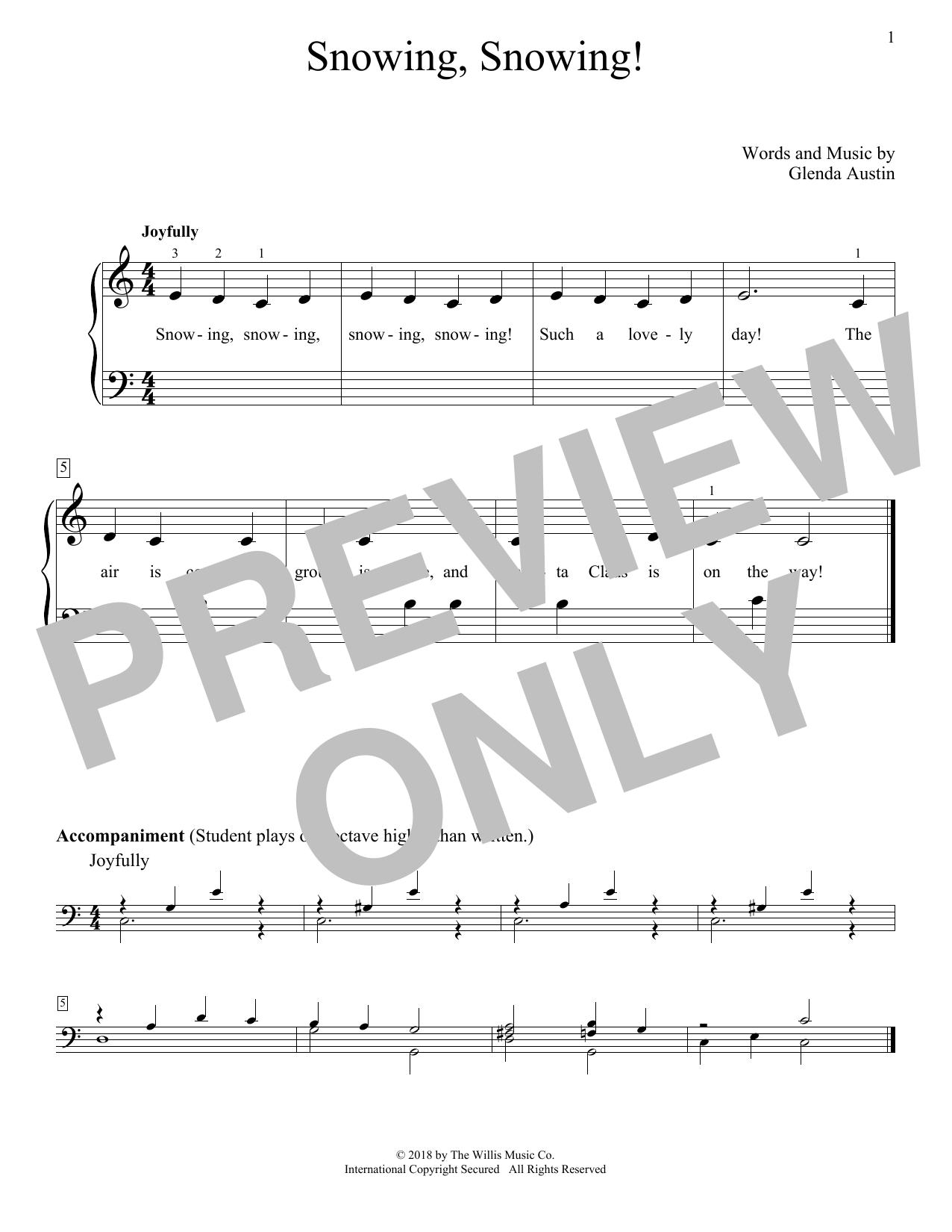 Glenda Austin Snowing, Snowing! sheet music notes and chords. Download Printable PDF.