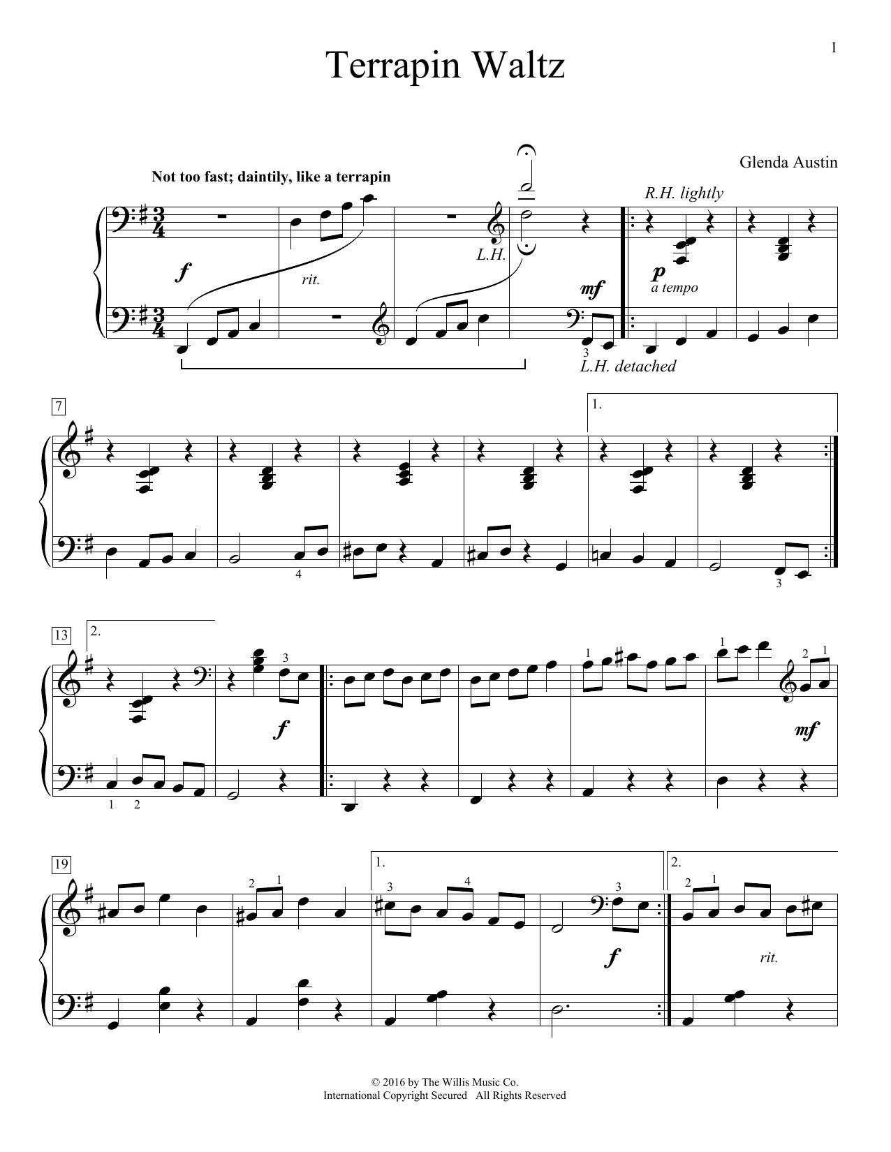 Glenda Austin Terrapin Waltz sheet music notes and chords. Download Printable PDF.
