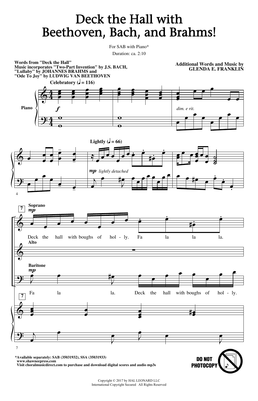 Glenda E. Franklin Deck The Hall With Beethoven, Bach, and Brahms! sheet music notes and chords