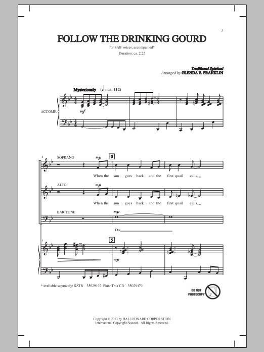Glenda E. Franklin Follow The Drinkin' Gourd sheet music notes and chords. Download Printable PDF.