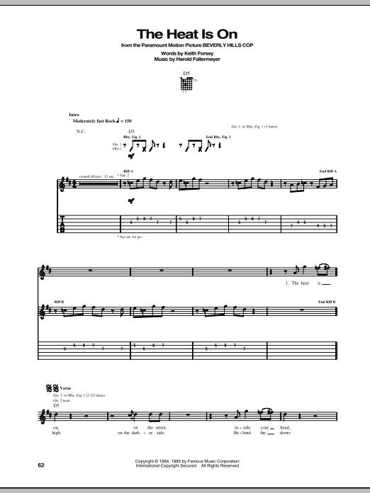 Glenn Frey The Heat Is On (from Beverly Hills Cop) sheet music notes and chords. Download Printable PDF.