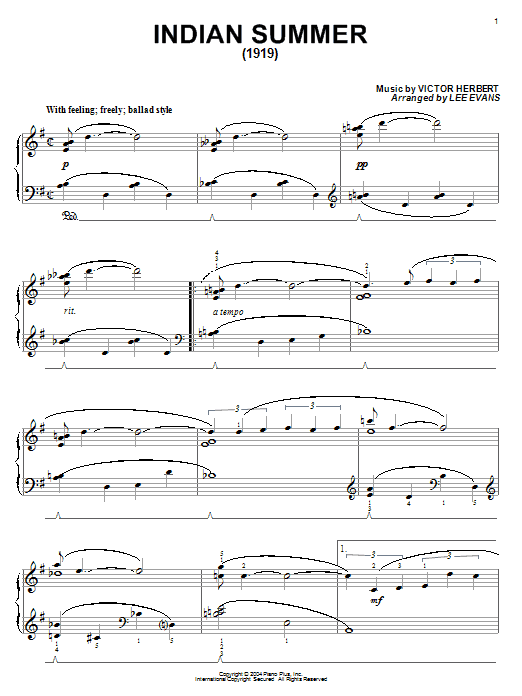 Glenn Miller Indian Summer (1919) sheet music notes and chords. Download Printable PDF.