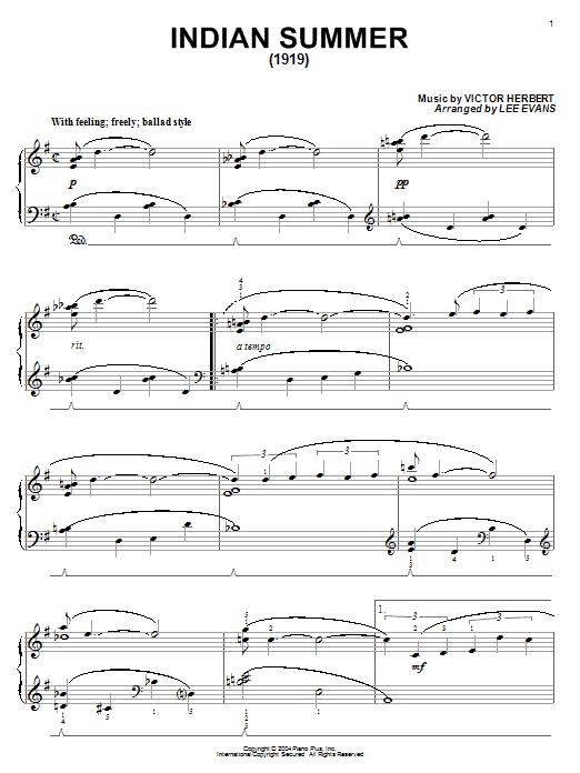 Glenn Miller Indian Summer (1919) sheet music notes and chords