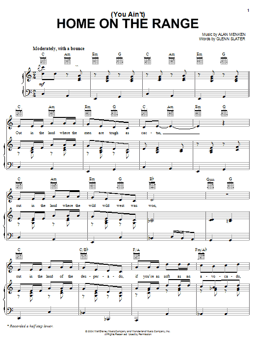 Glenn Slater (You Ain't) Home On The Range - Main Title sheet music notes and chords. Download Printable PDF.