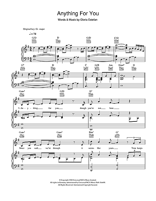 Gloria Estefan Anything For You sheet music notes and chords. Download Printable PDF.