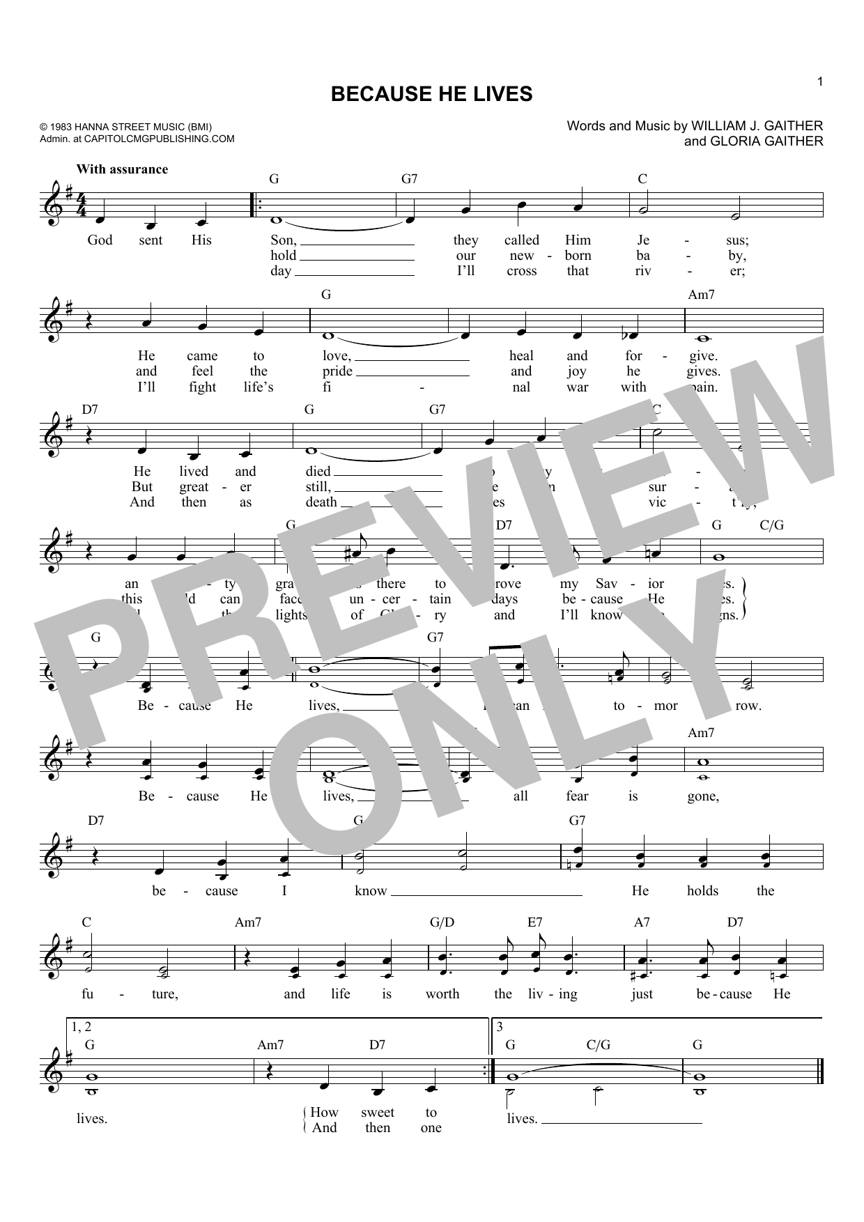 Gloria Gaither Because He Lives sheet music notes and chords. Download Printable PDF.