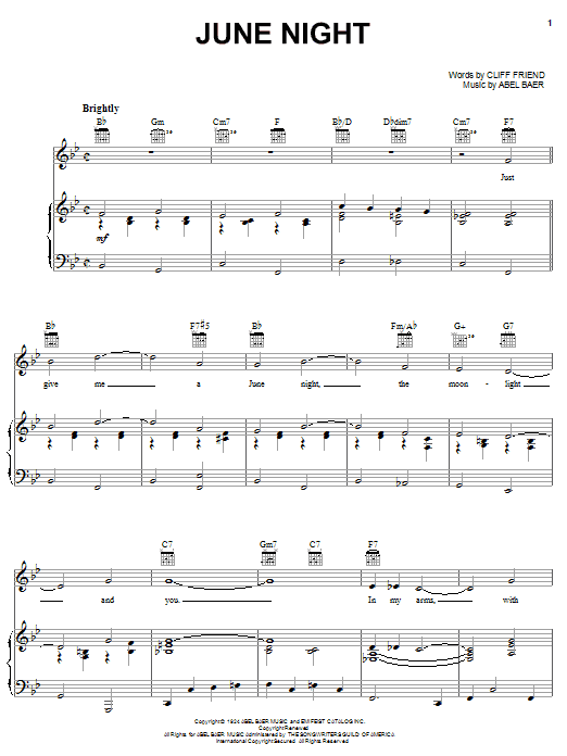 Gloria Lynne June Night sheet music notes and chords. Download Printable PDF.