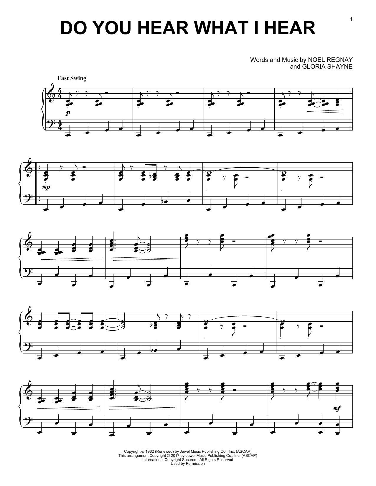 Gloria Shayne Do You Hear What I Hear [Jazz version] sheet music notes and chords