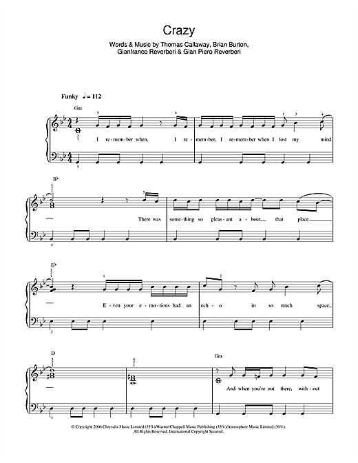 Gnarls Barkley Crazy sheet music notes and chords. Download Printable PDF.