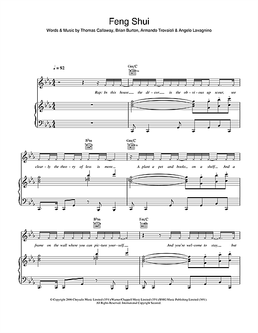 Gnarls Barkley Feng Shui sheet music notes and chords. Download Printable PDF.
