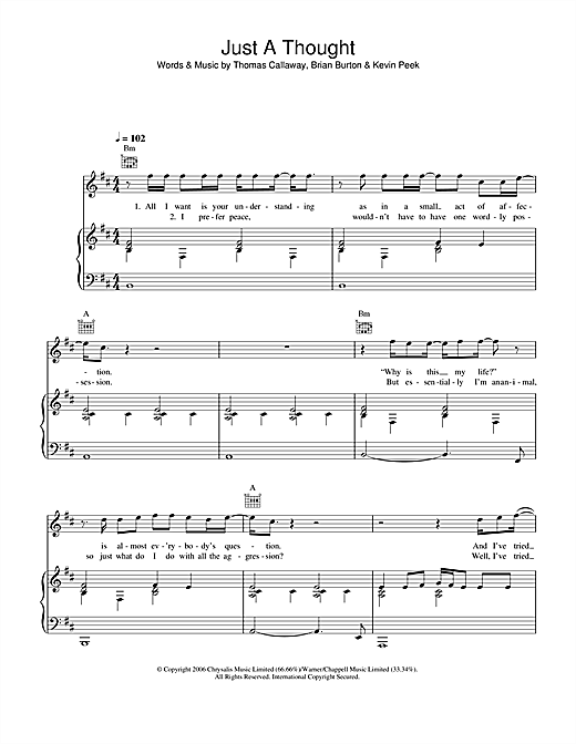 Gnarls Barkley Just A Thought sheet music notes and chords. Download Printable PDF.