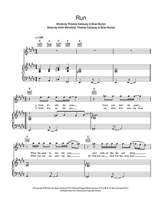Gnarls Barkley Run sheet music notes and chords. Download Printable PDF.