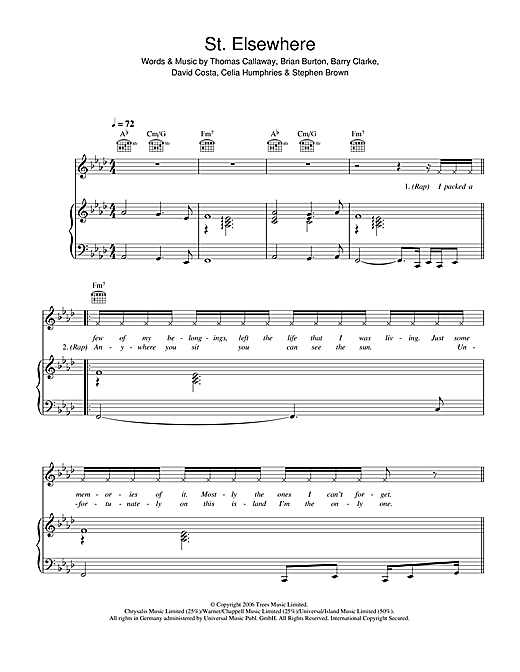 Gnarls Barkley St. Elsewhere sheet music notes and chords. Download Printable PDF.