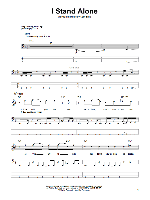Godsmack I Stand Alone sheet music notes and chords. Download Printable PDF.