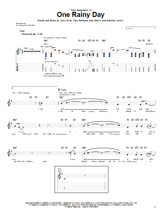 Godsmack One Rainy Day sheet music notes and chords. Download Printable PDF.